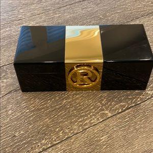 "C Wonder Black Lacquer Initial ""R"" Jewelry Box"